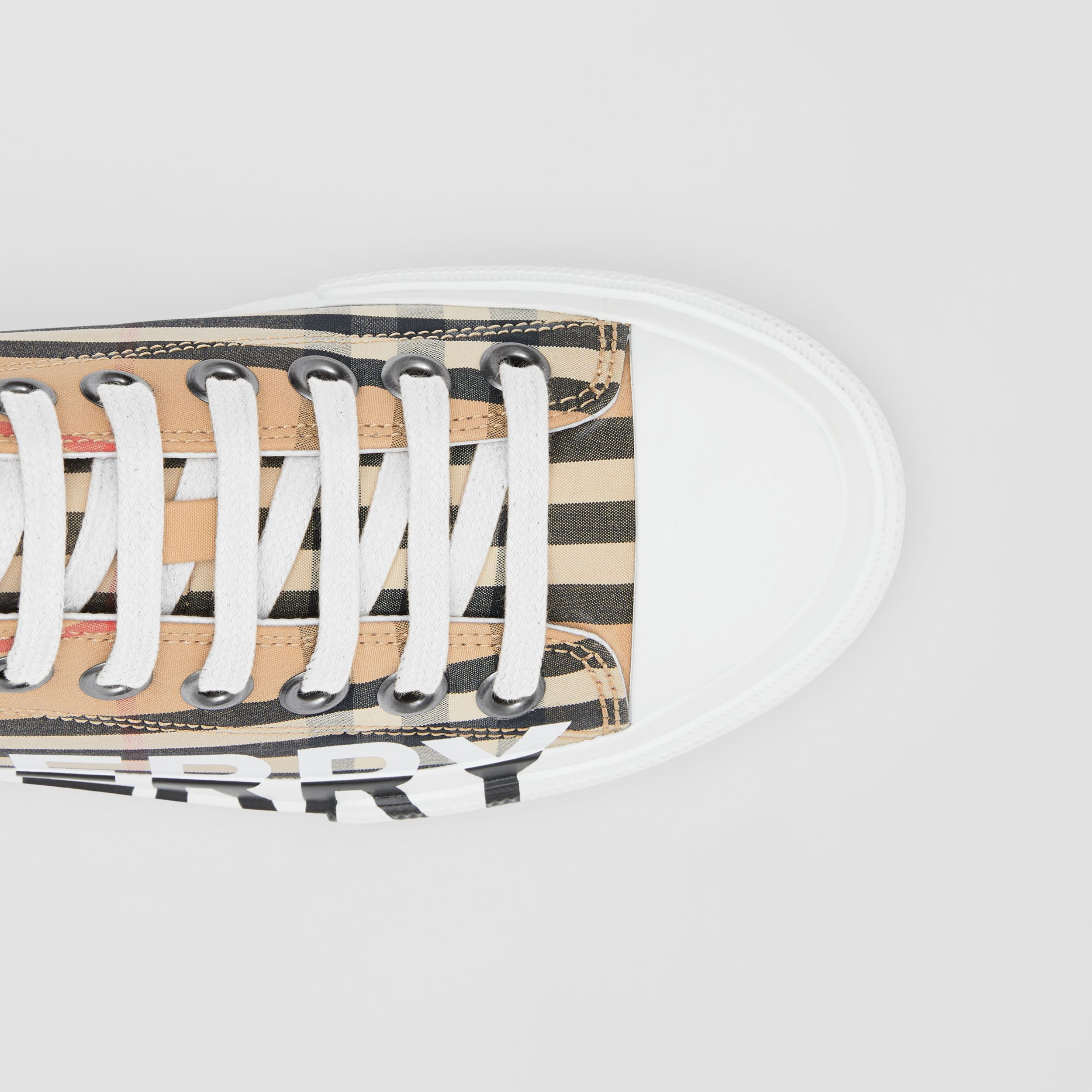 Logo Print Vintage Check Cotton Sneakers in Archive Beige - Women | Burberry - 2