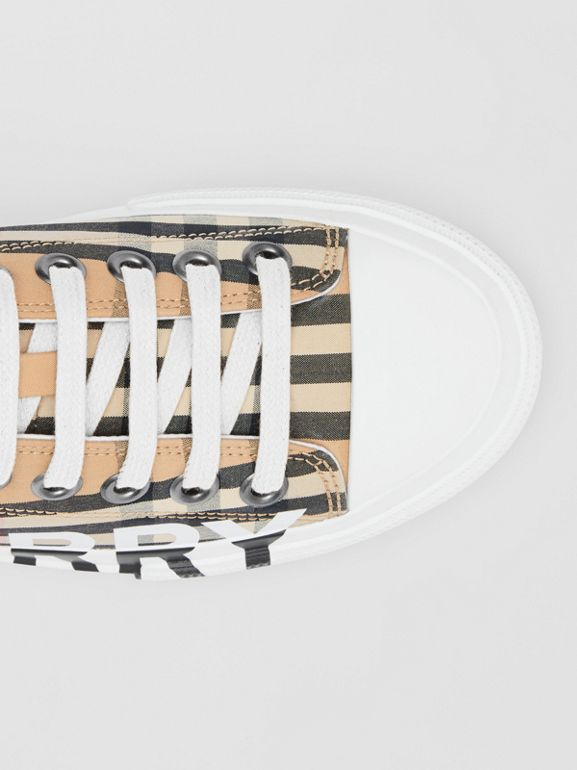 Logo Print Vintage Check Cotton Sneakers in Archive Beige - Women | Burberry - cell image 1