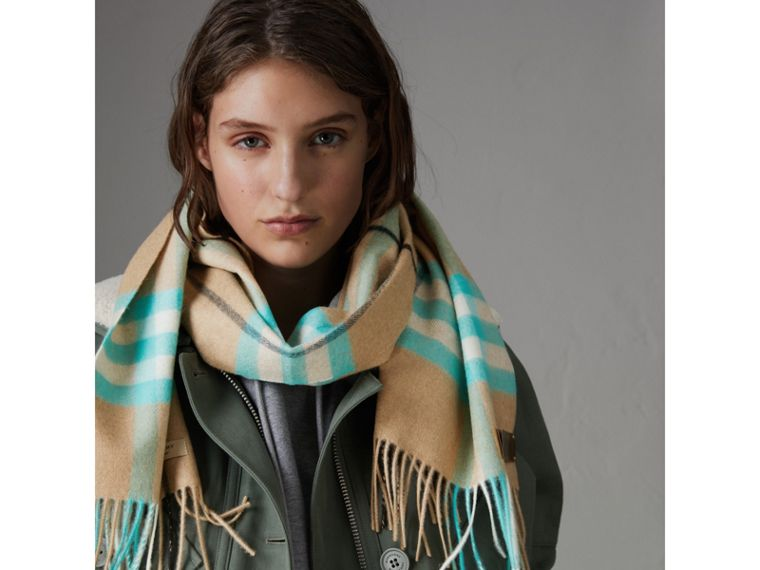 Check Cashmere Scarf in Bright Aqua | Burberry - cell image 4