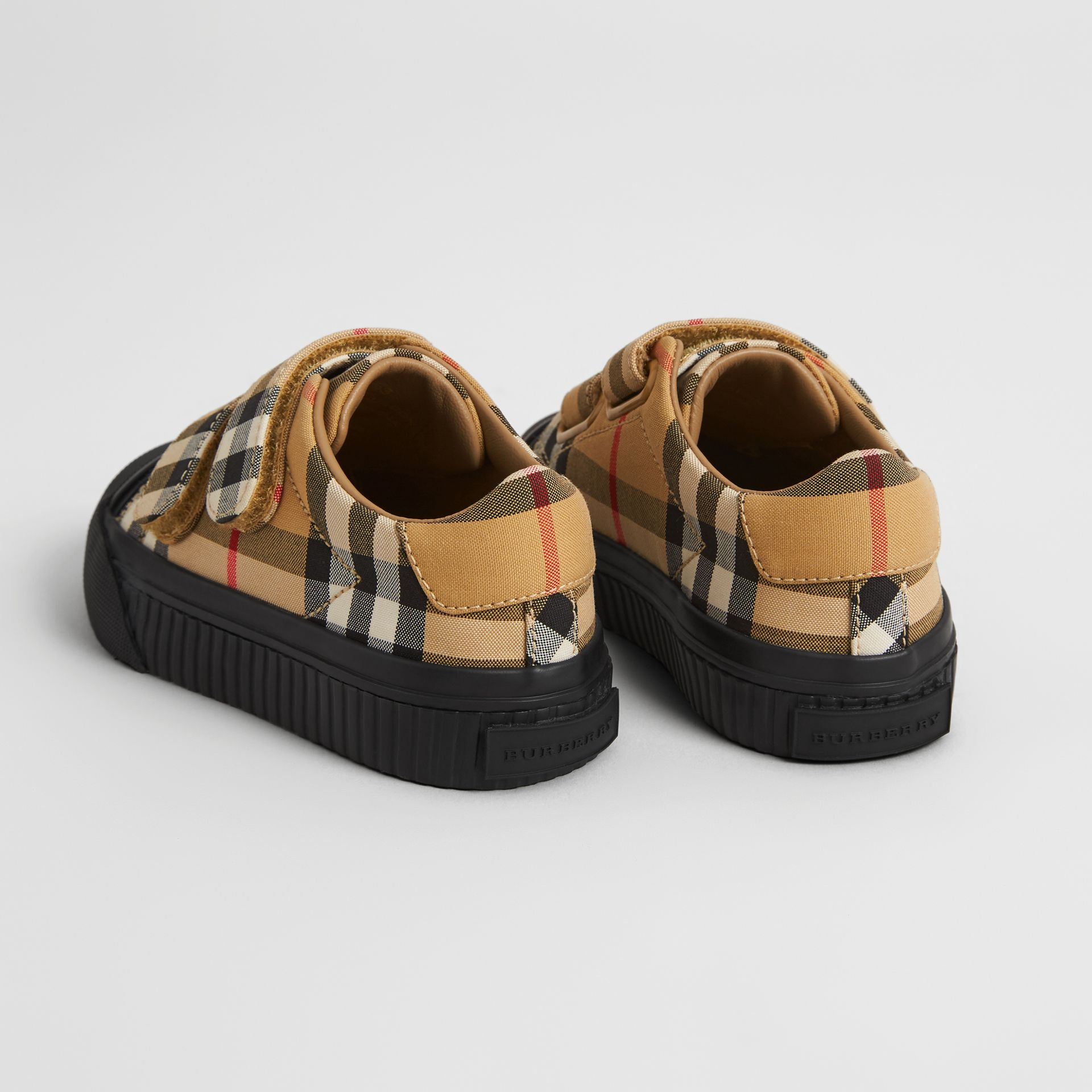 Vintage Check and Leather Sneakers in Antique Yellow/black - Children | Burberry - gallery image 2