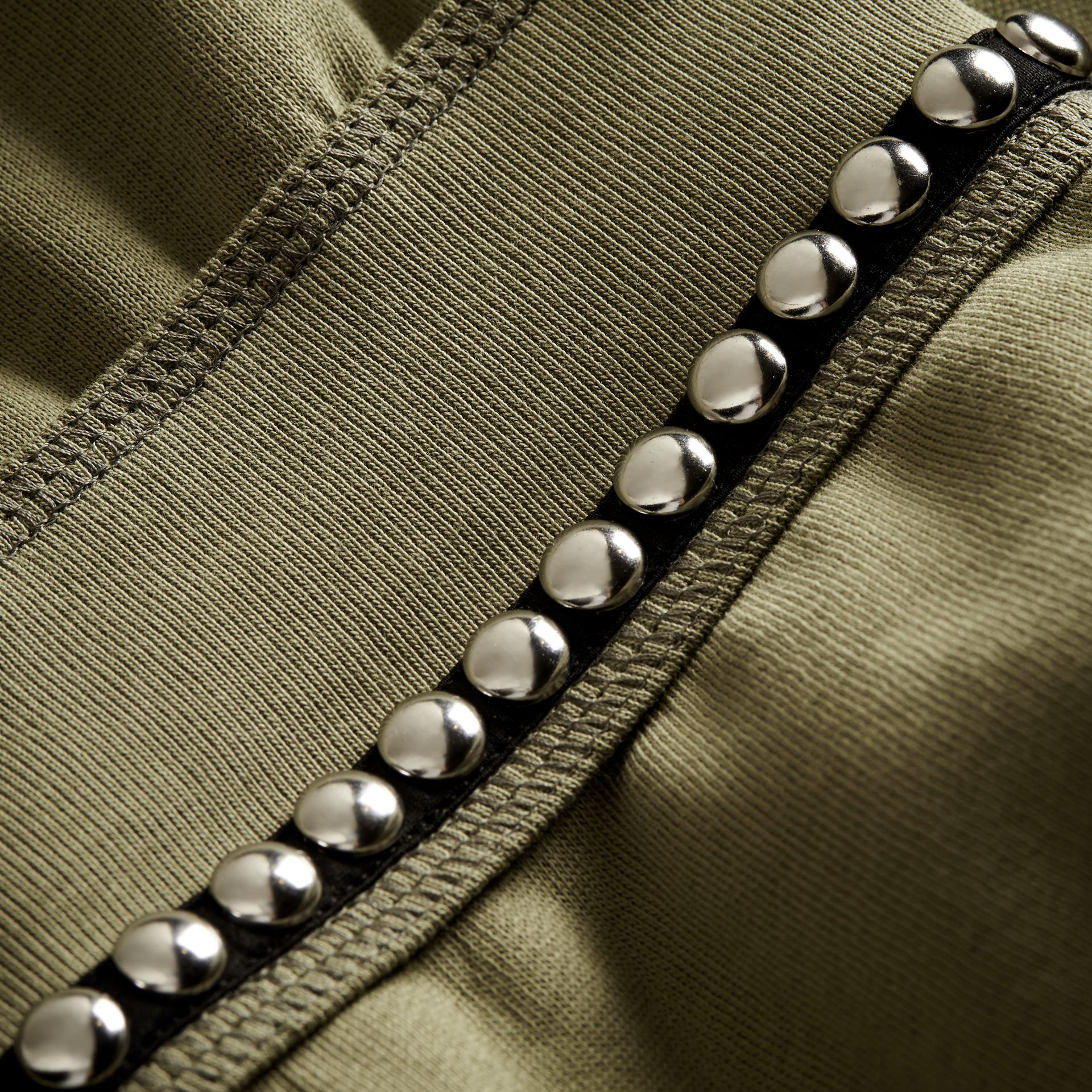 Khaki Puff-sleeved Cotton Blend Jersey Sweatshirt - gallery image 2