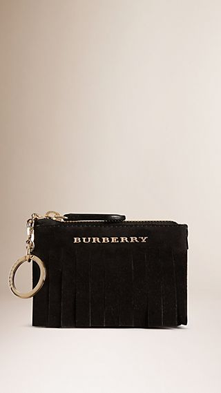 Porte-monnaie en cuir velours avec franges