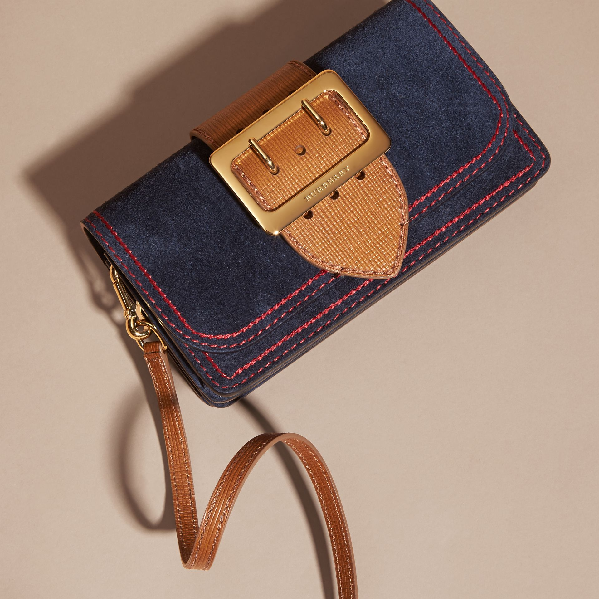 The Small Buckle Bag in Suede with Topstitching Ink / Tan - gallery image 8