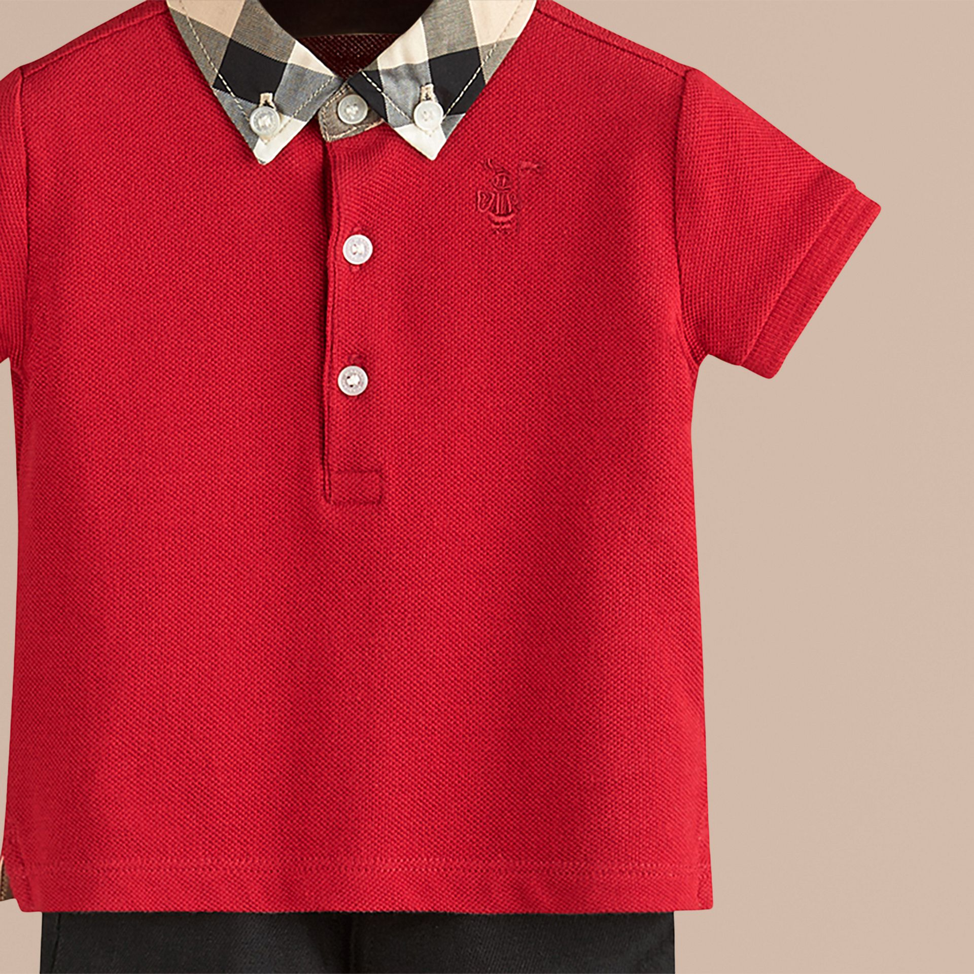 Military red Check Collar Polo Shirt - photo de la galerie 2