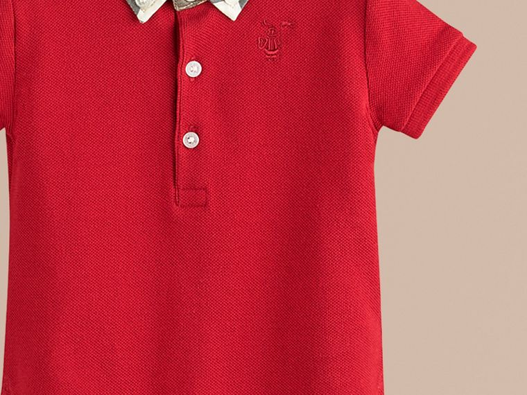Military red Check Collar Polo Shirt - cell image 1