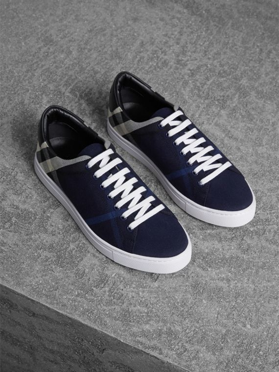 Overdyed House Check Cotton Trainers in Indigo Blue/black - Men | Burberry