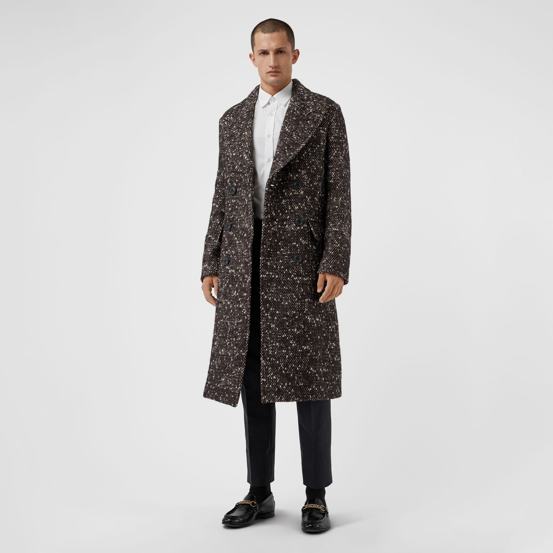 Wool Mohair Blend Tweed Tailored Coat in Black - Men | Burberry - gallery image 0