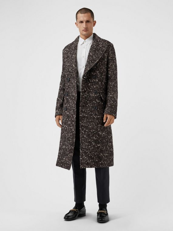 Wool Mohair Blend Tweed Tailored Coat in Black