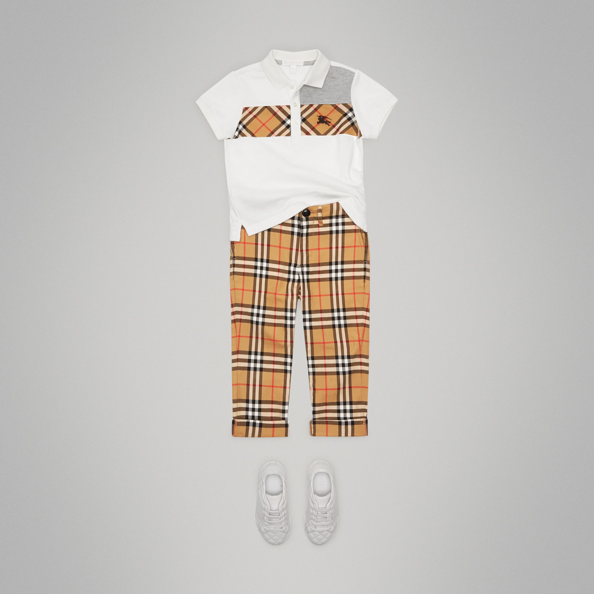 Vintage Check Panel Cotton Polo Shirt in White | Burberry - gallery image 2