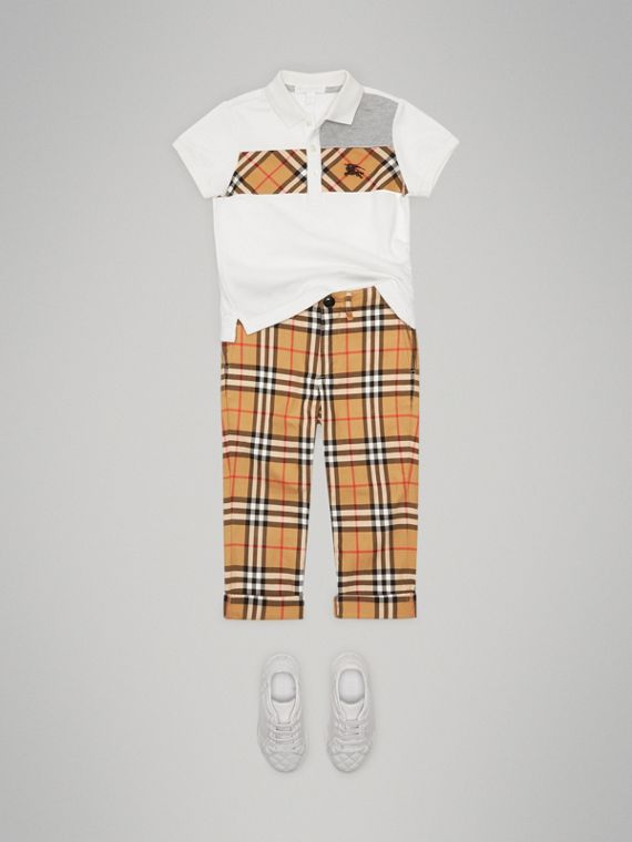 Vintage Check Panel Cotton Polo Shirt in White - Boy | Burberry United Kingdom - cell image 2