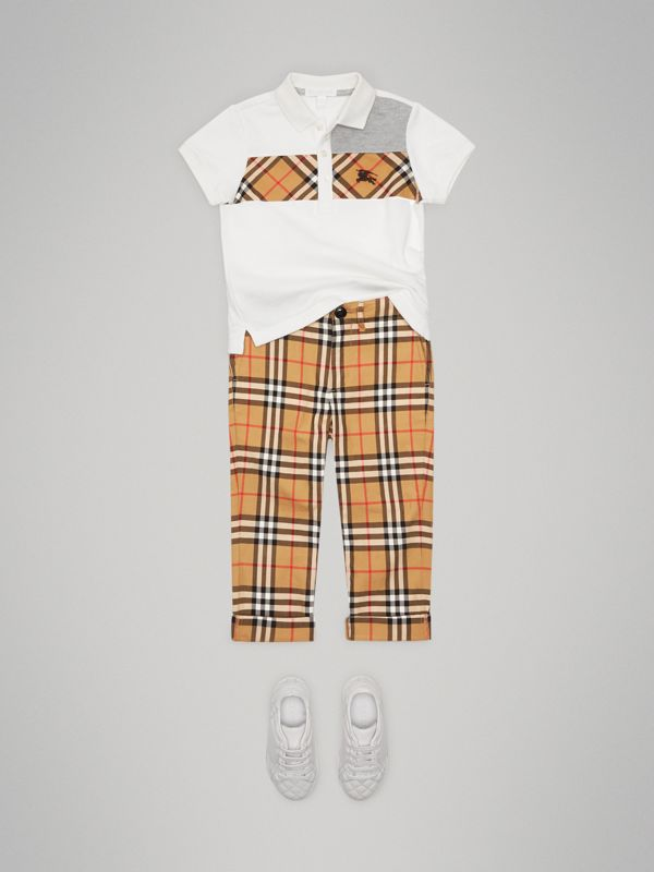 Vintage Check Panel Cotton Polo Shirt in White | Burberry Singapore - cell image 2