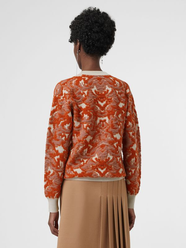 Damask Wool Silk Jacquard Sweater in Pink Azalea - Women | Burberry Hong Kong - cell image 2