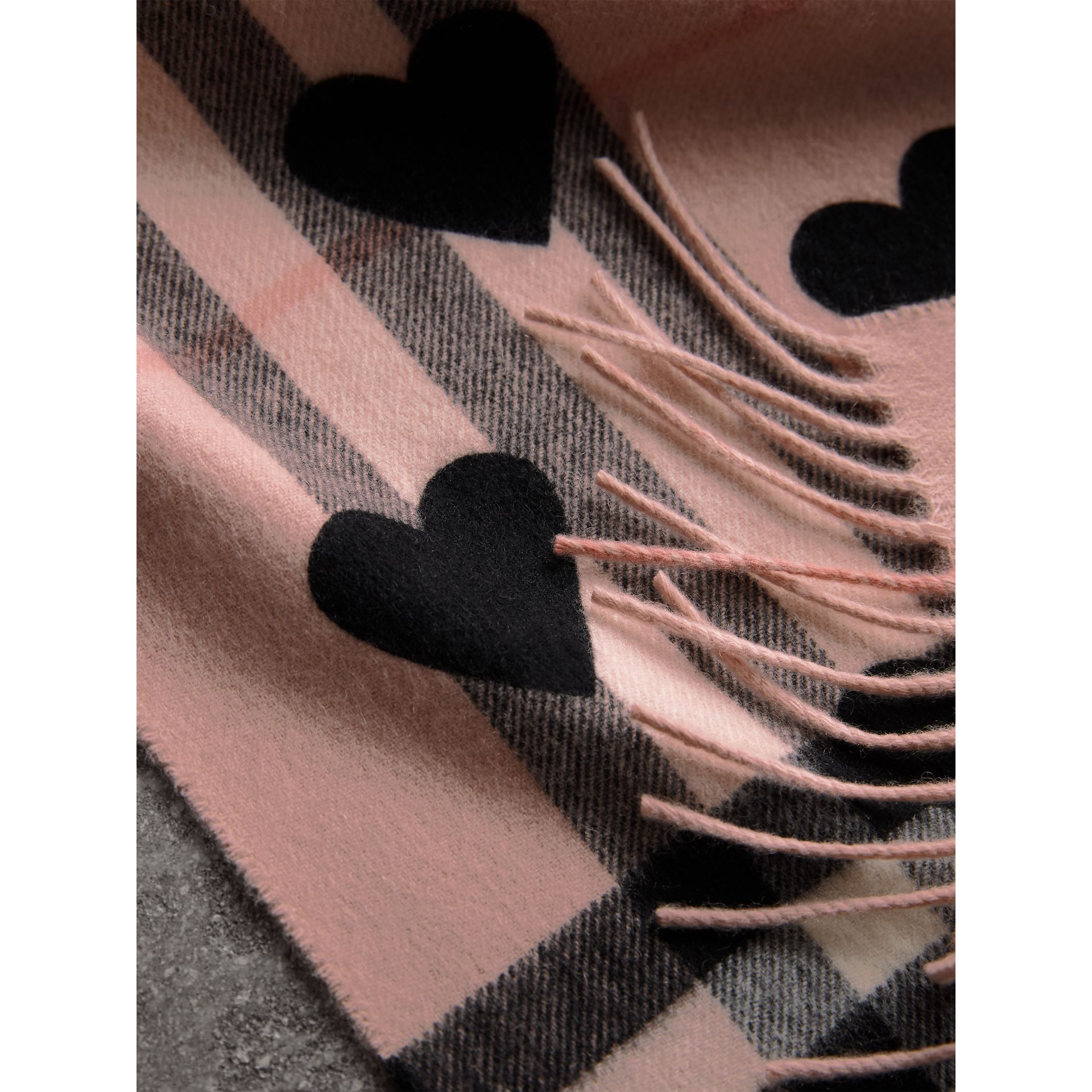 The Classic Cashmere Scarf in Check and Hearts in Ash Rose/black | Burberry - gallery image 5