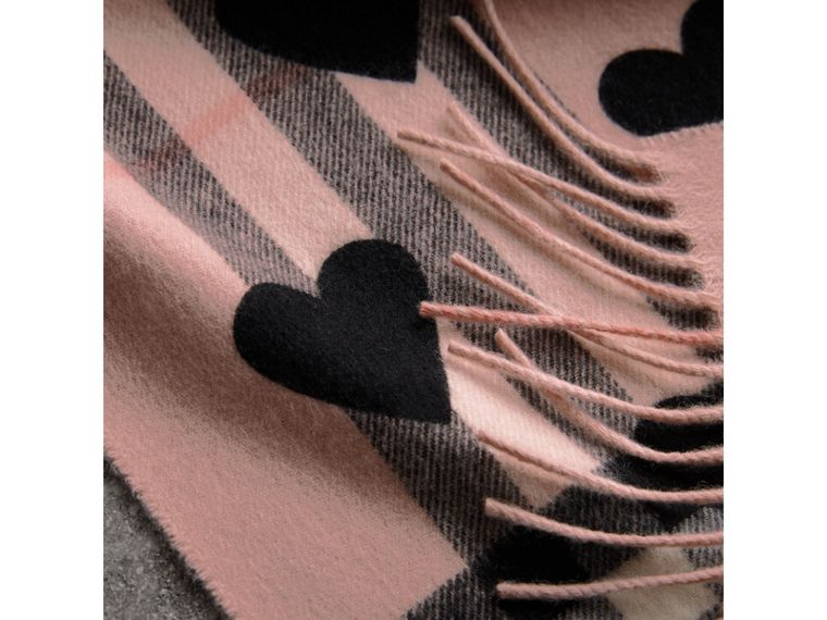The Classic Cashmere Scarf in Check and Hearts in Ash Rose/black | Burberry - cell image 4