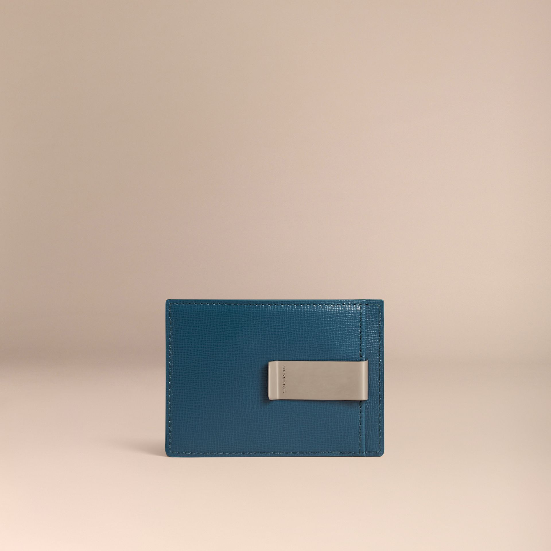 London Leather Money Clip Card Case in Mineral Blue - gallery image 2