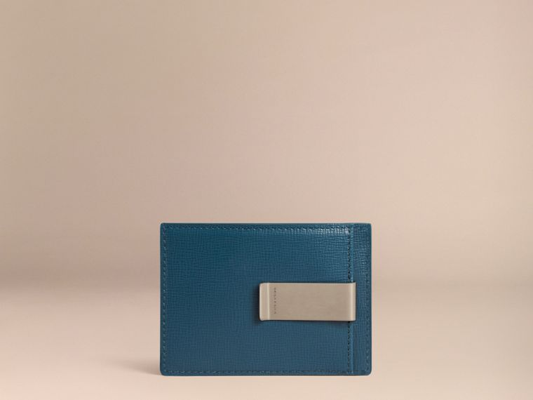 London Leather Money Clip Card Case in Mineral Blue - cell image 1