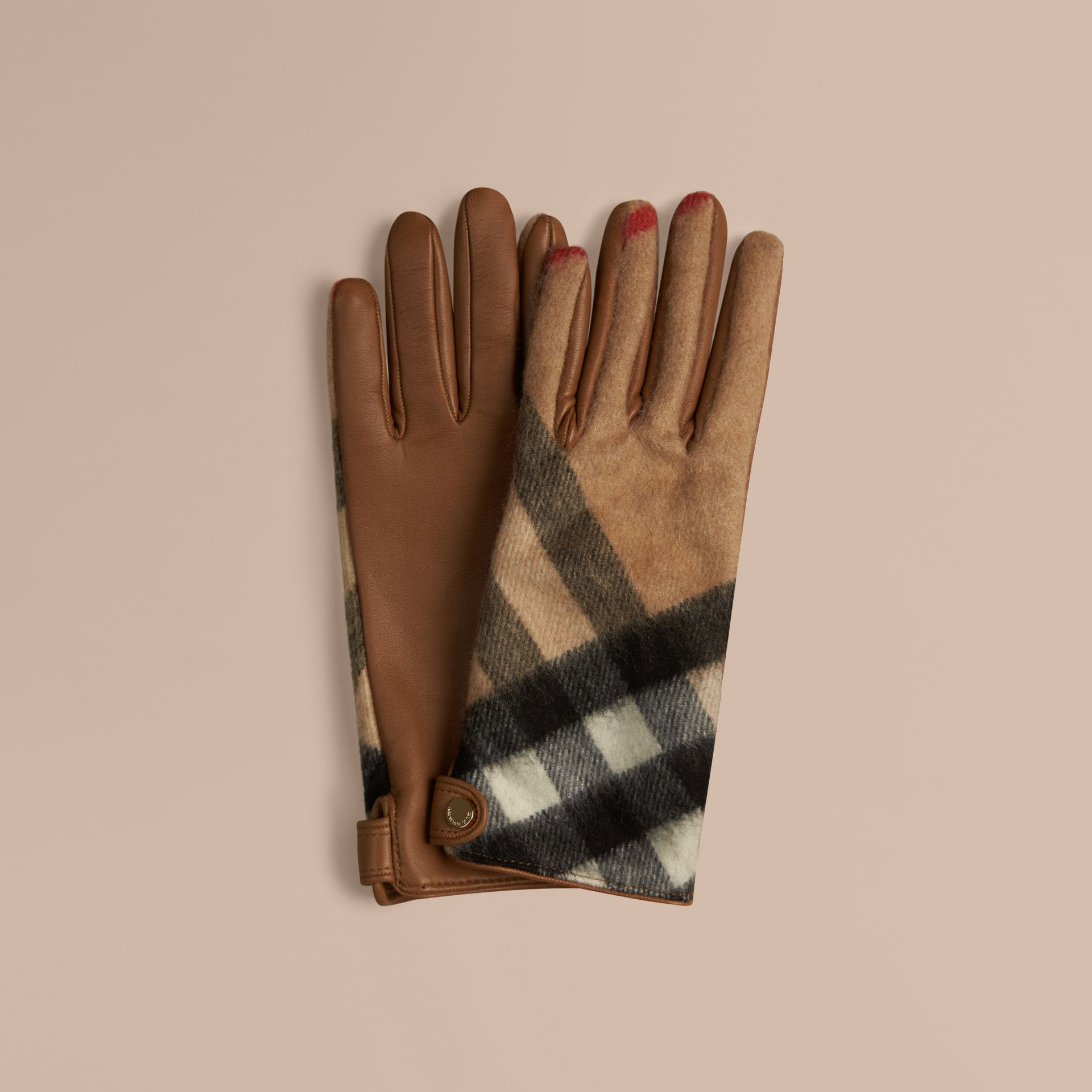 Leather and Check Cashmere Gloves Camel - gallery image 1