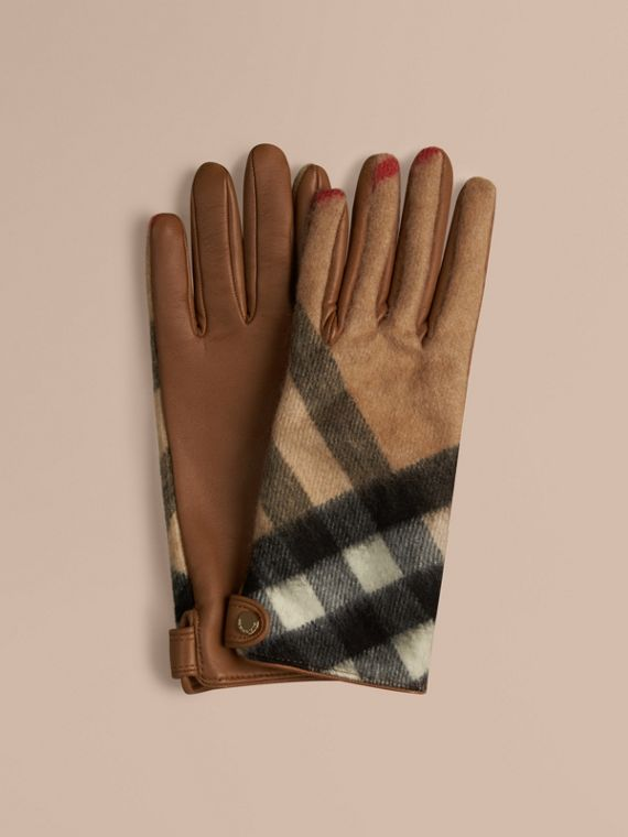 Leather and Check Cashmere Gloves in Camel