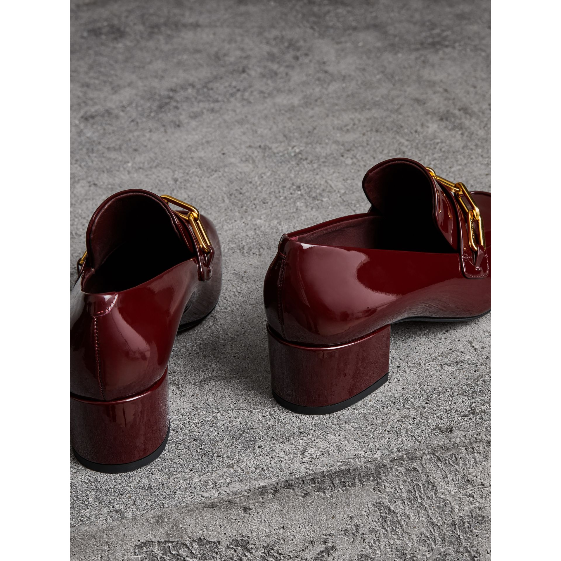 Link Detail Patent Leather Block-heel Loafers in Burgundy Red - Women | Burberry Canada - gallery image 3