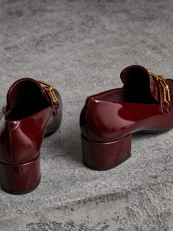 Link Detail Patent Leather Block-heel Loafers in Burgundy Red - Women | Burberry - cell image 3