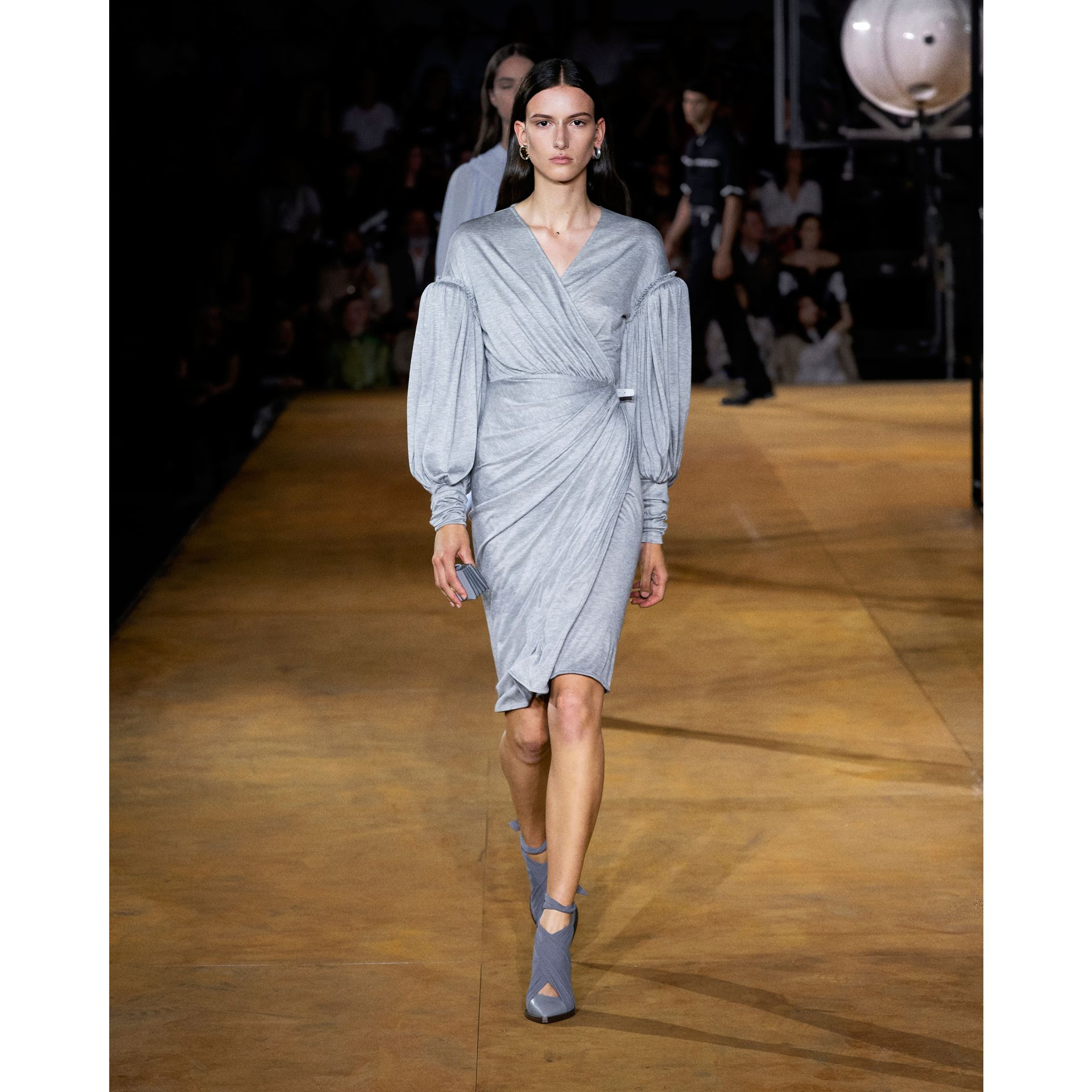 Puff-sleeve Jersey Wrap Dress in Pewter Melange - Women | Burberry - gallery image 6