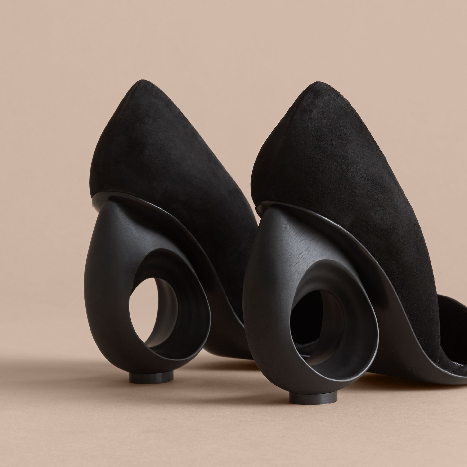 Sculpted Heel Suede Pumps in Black - Women | Burberry - gallery image 2