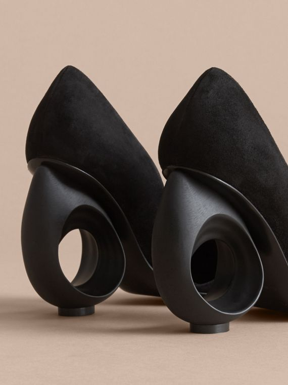 Sculpted Heel Suede Pumps in Black - Women | Burberry - cell image 2