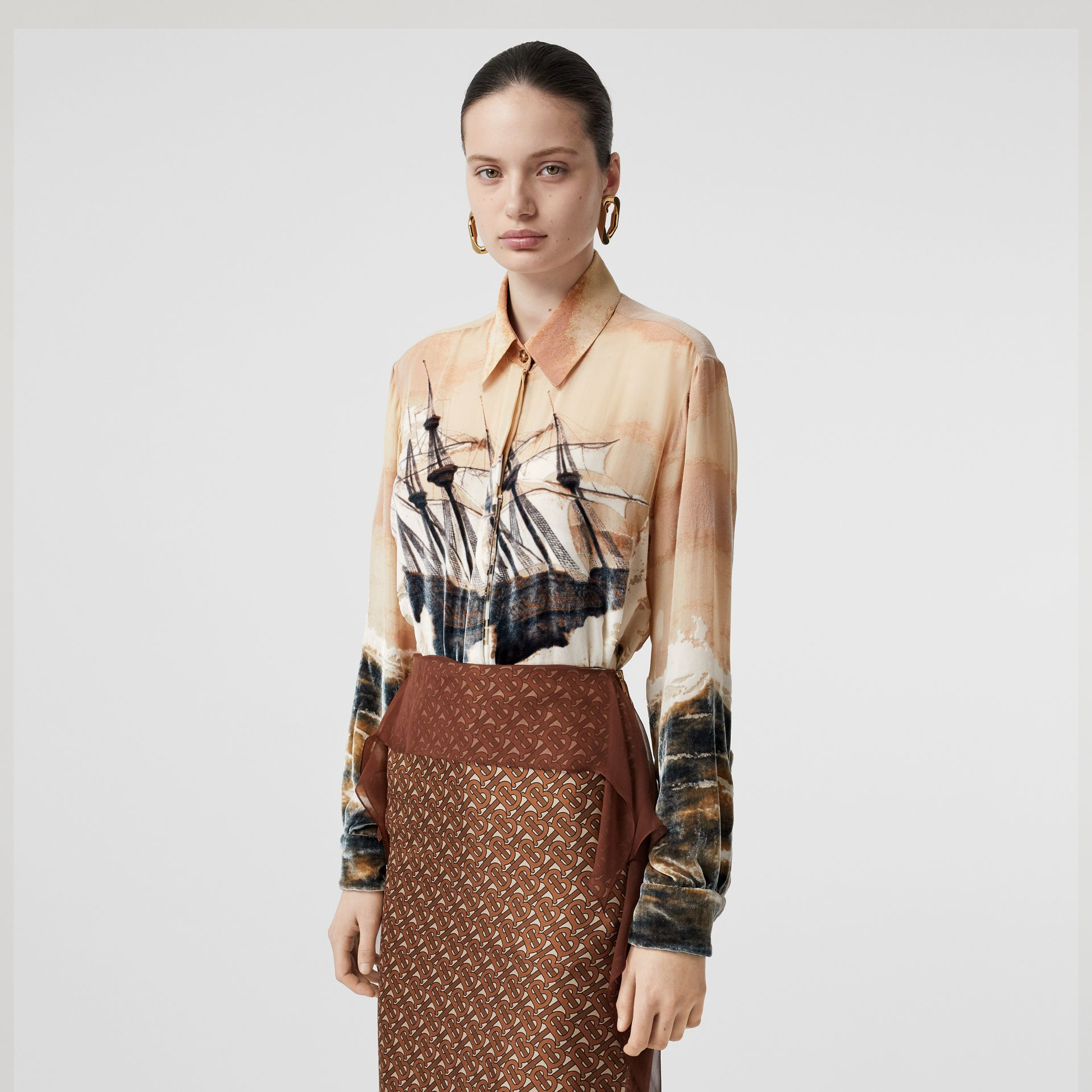 Ship Print Devoré Silk Blend Oversized Shirt in Bronze - Women | Burberry United Kingdom - gallery image 0