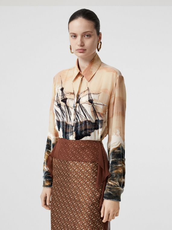 Ship Print Devoré Silk Blend Oversized Shirt in Bronze