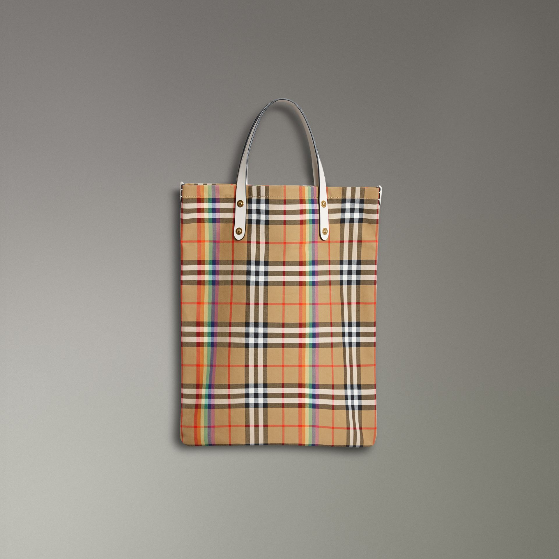 Rainbow Vintage Check Medium Shopper in Natural | Burberry - gallery image 0