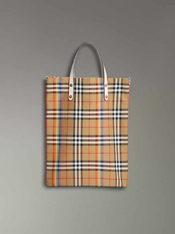 Bolso shopper mediano con motivo Rainbow Vintage Checks (Natural)