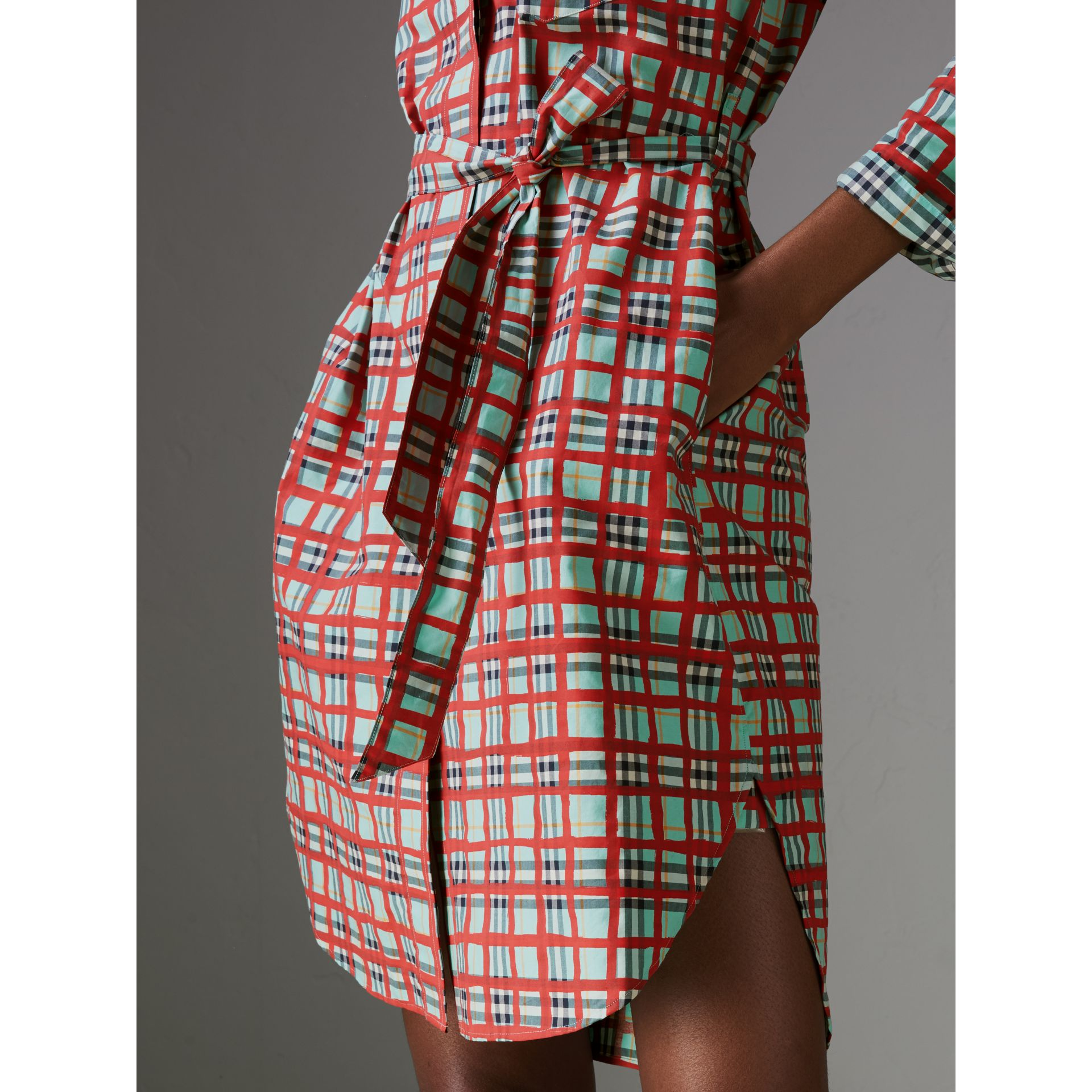 Painted Check Cotton Tie-waist Shirt Dress in Bright Aqua - Women | Burberry - gallery image 1