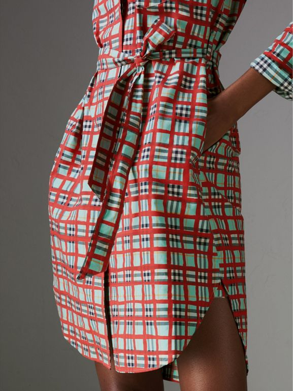 Painted Check Cotton Tie-waist Shirt Dress in Bright Aqua - Women | Burberry Canada - cell image 1