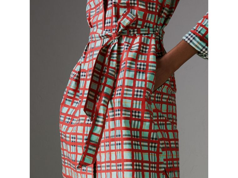Painted Check Cotton Tie-waist Shirt Dress in Bright Aqua - Women | Burberry United States - cell image 1