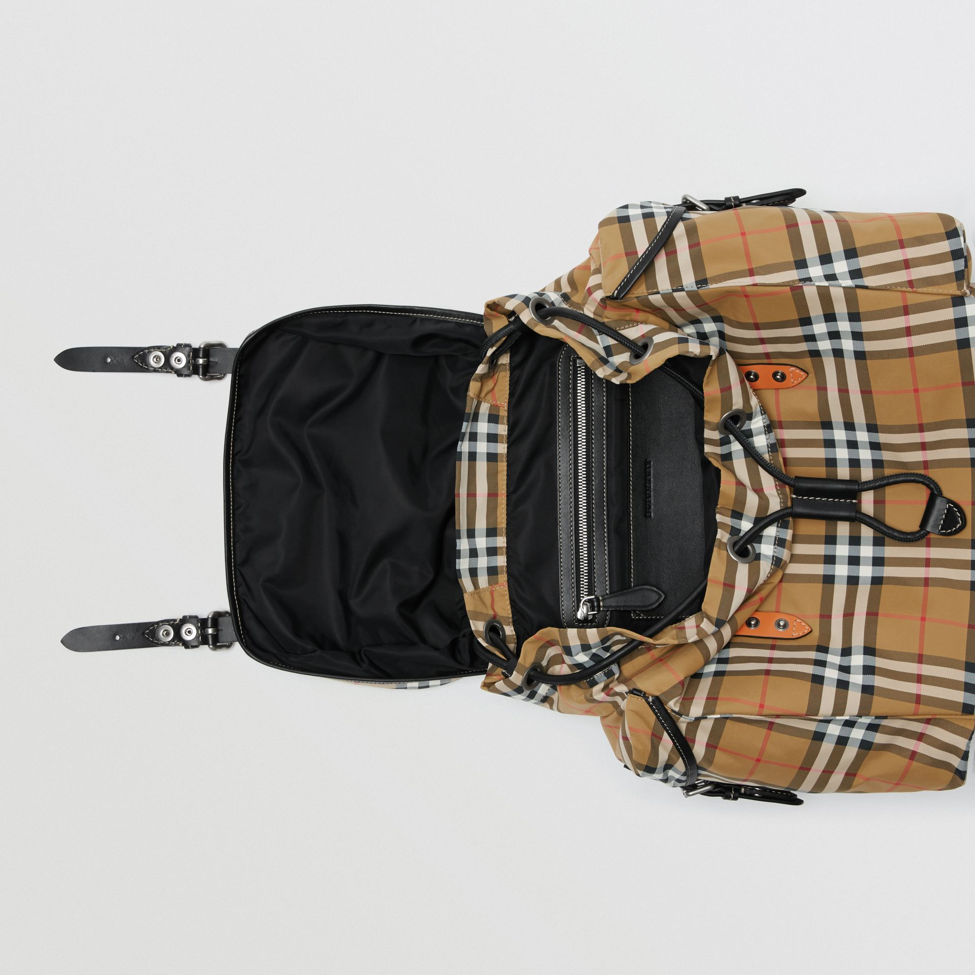 Vintage Check and Leather Backpack in Antique Yellow - Men | Burberry - gallery image 5