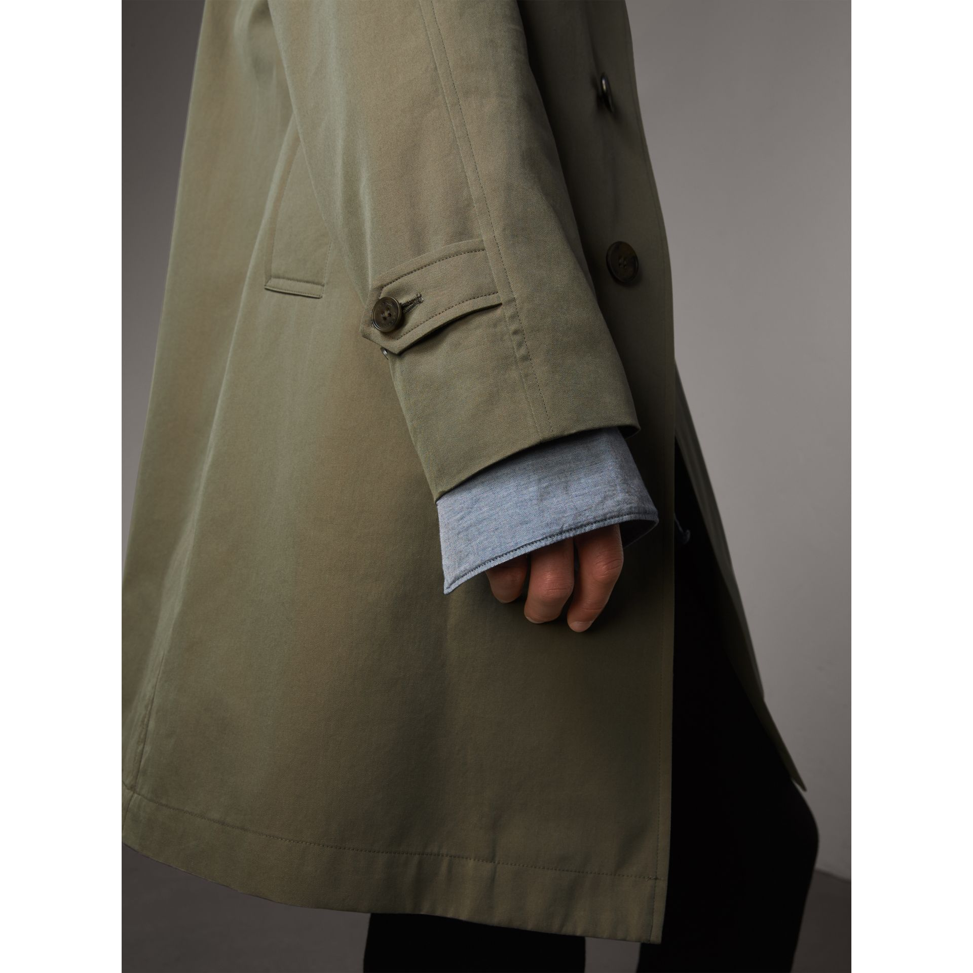 The Camden Car Coat in Chalk Green - Men | Burberry Singapore - gallery image 4