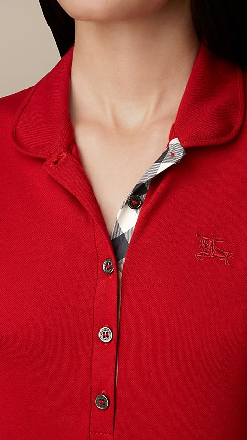 Military red Check Placket Polo Shirt - Image 3