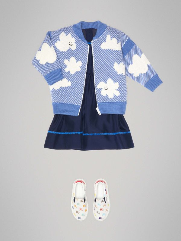 Cloud Jacquard Merino Wool Cardigan in Cornflower Blue - Children | Burberry United Kingdom - cell image 2