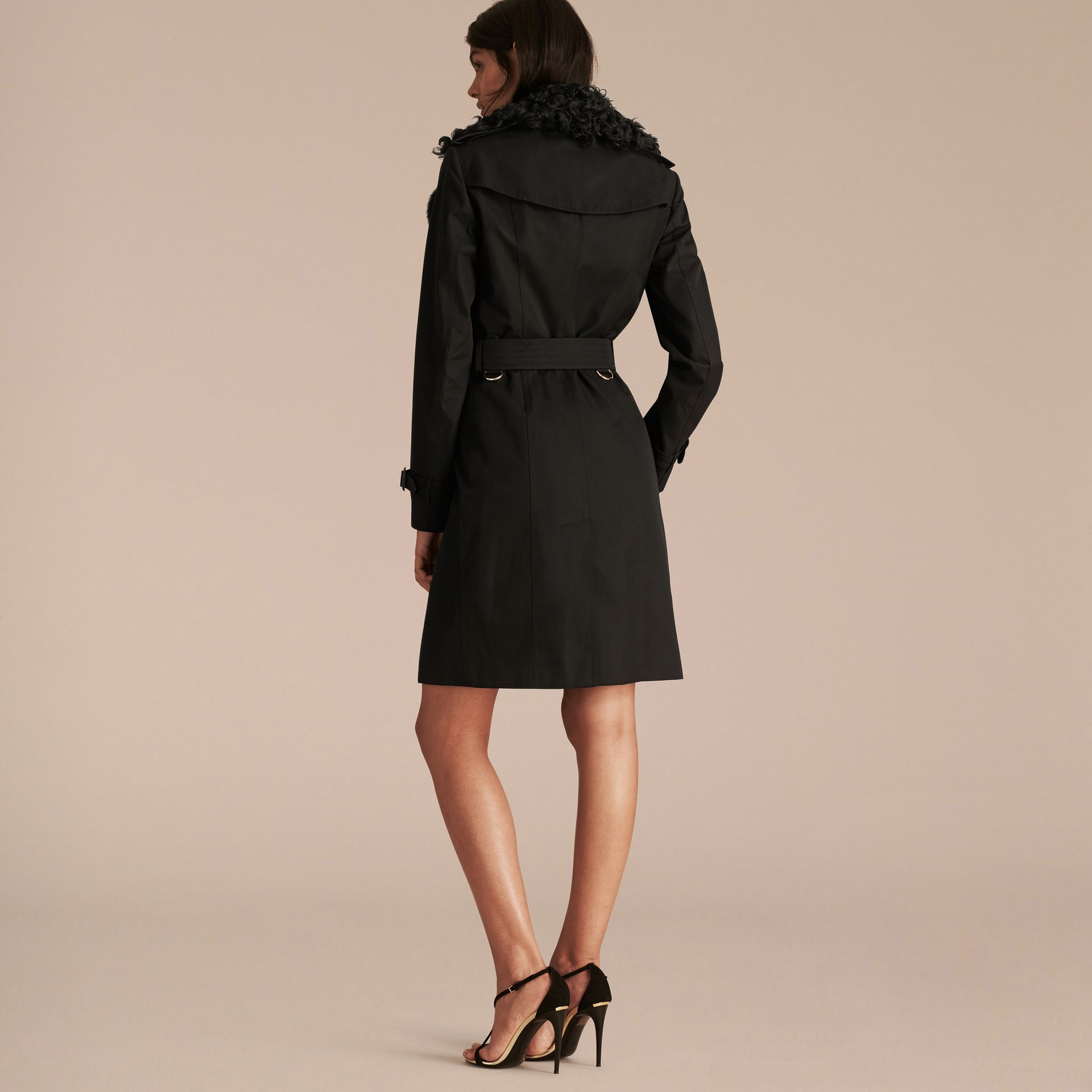 Black Cotton Gabardine Trench Coat with Detachable Fur Trim - gallery image 3