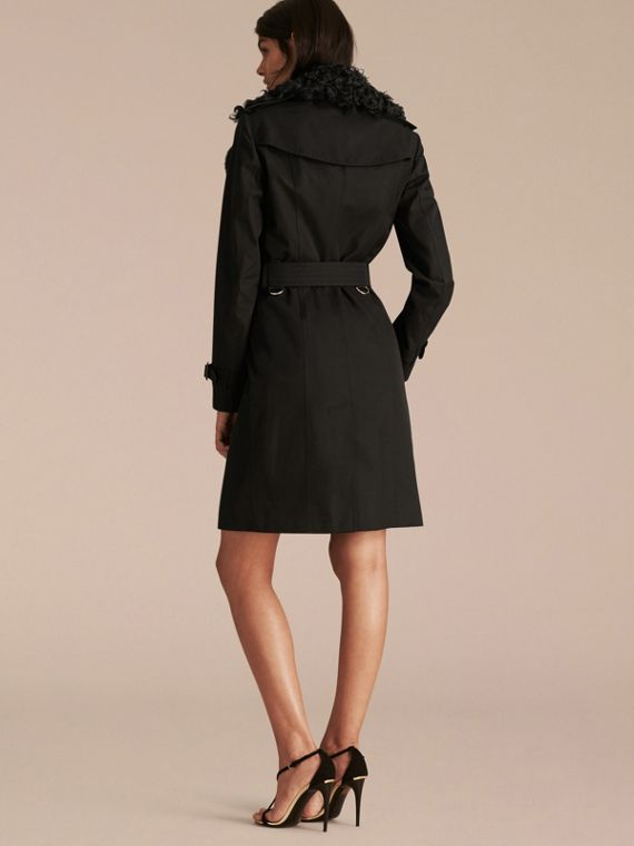 Black Cotton Gabardine Trench Coat with Detachable Fur Trim - cell image 2