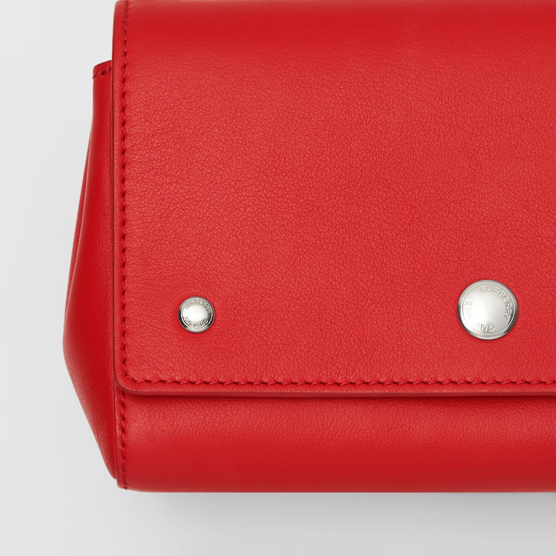 Small Quote Print Grainy Leather Crossbody Bag in Bright Military Red - Women | Burberry - gallery image 1