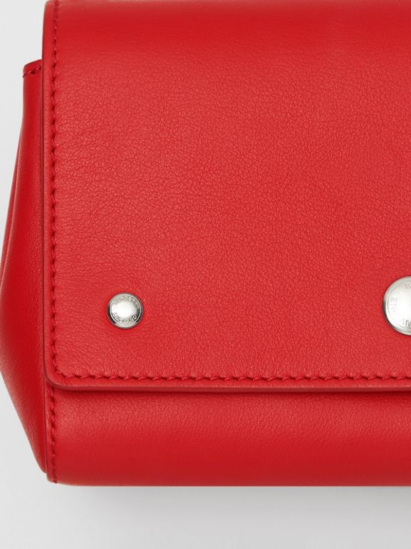 Small Quote Print Grainy Leather Crossbody Bag in Bright Military Red - Women | Burberry - cell image 1