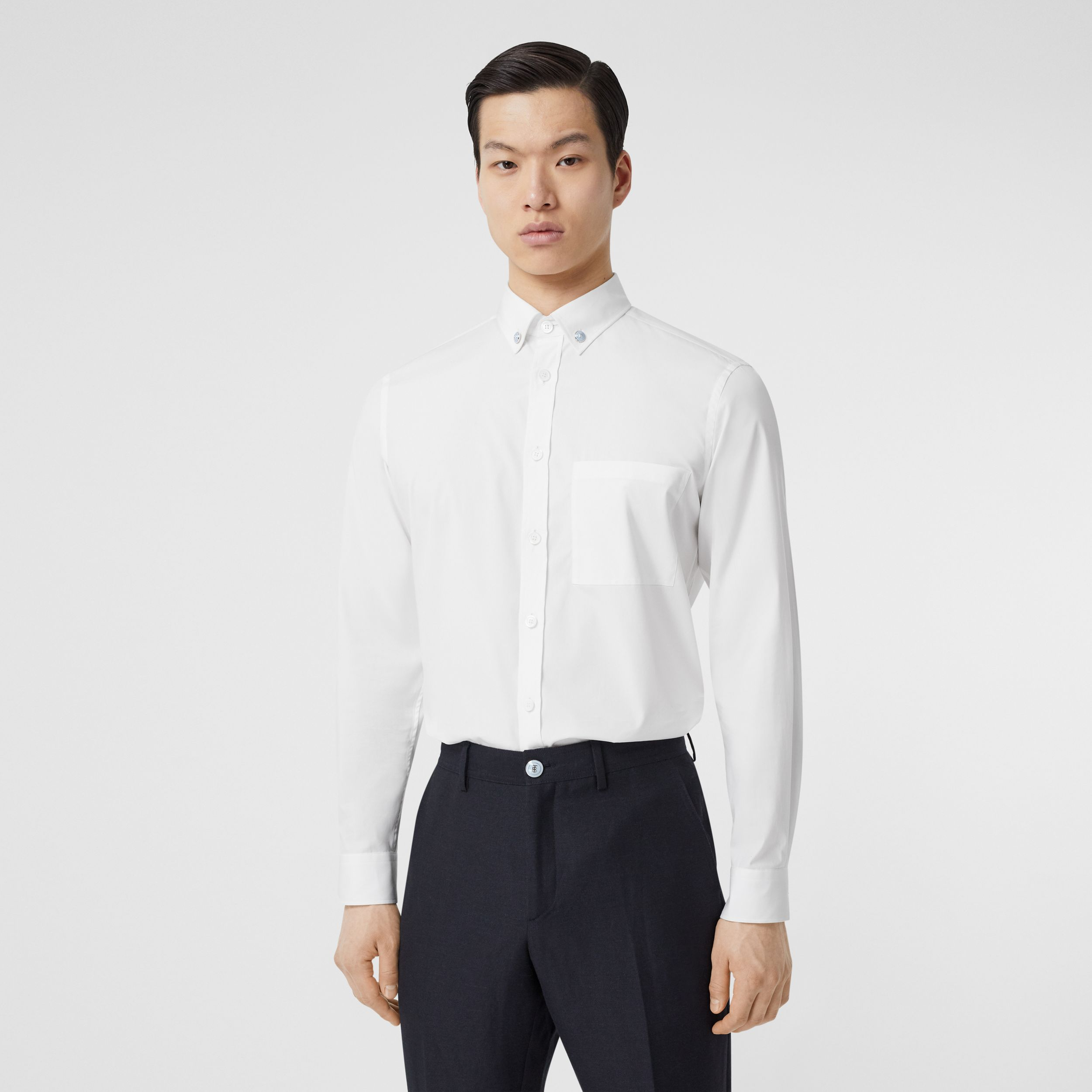 Slim Fit Stretch Cotton Poplin Shirt in White - Men | Burberry Singapore - 1