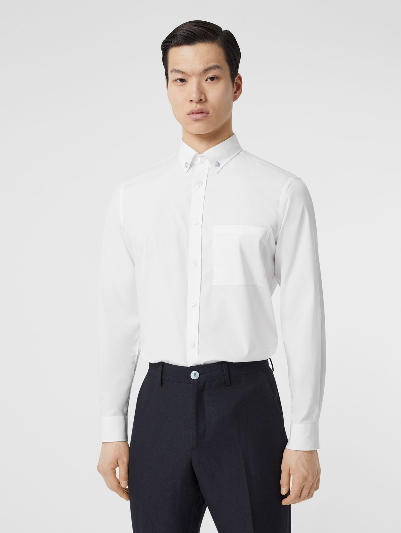 Slim Fit Stretch Cotton Poplin Shirt (White)