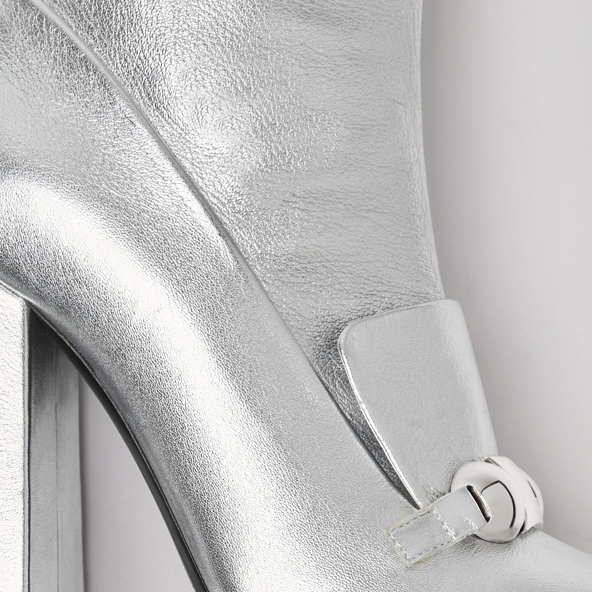 Studded Bar Detail Leather Ankle Boots in Silver - Women | Burberry United Kingdom - gallery image 1