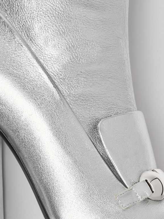 Studded Bar Detail Leather Ankle Boots in Silver - Women | Burberry United Kingdom - cell image 1