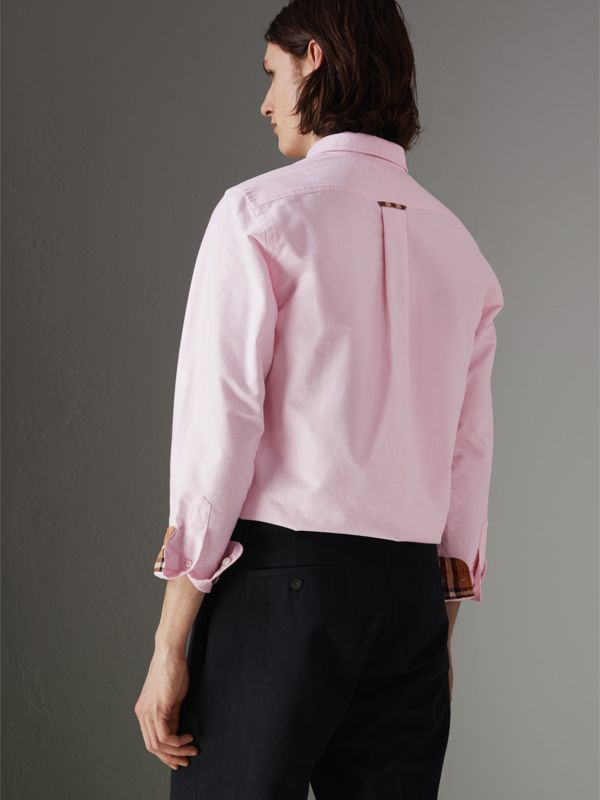 Check Detail Cotton Oxford Shirt in Pale Pink - Men | Burberry - cell image 2