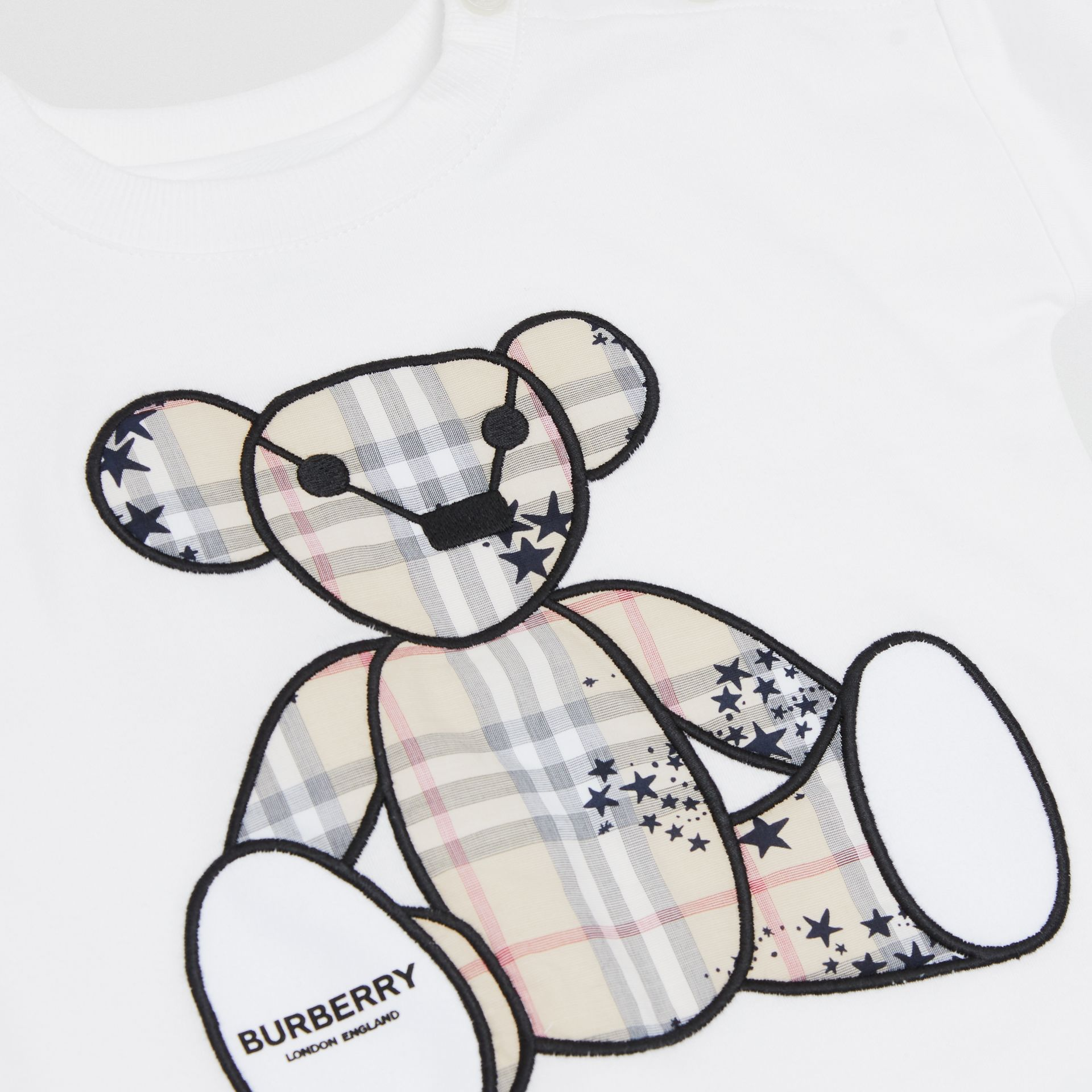 Thomas Bear Appliqué Cotton All-in-One in White - Children | Burberry Hong Kong S.A.R - gallery image 1