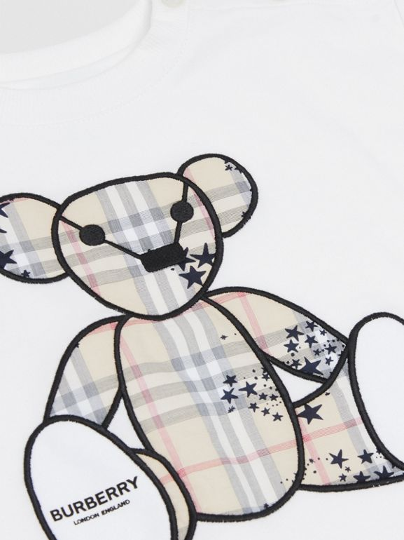 Thomas Bear Appliqué Cotton All-in-One in White - Children | Burberry Hong Kong S.A.R - cell image 1
