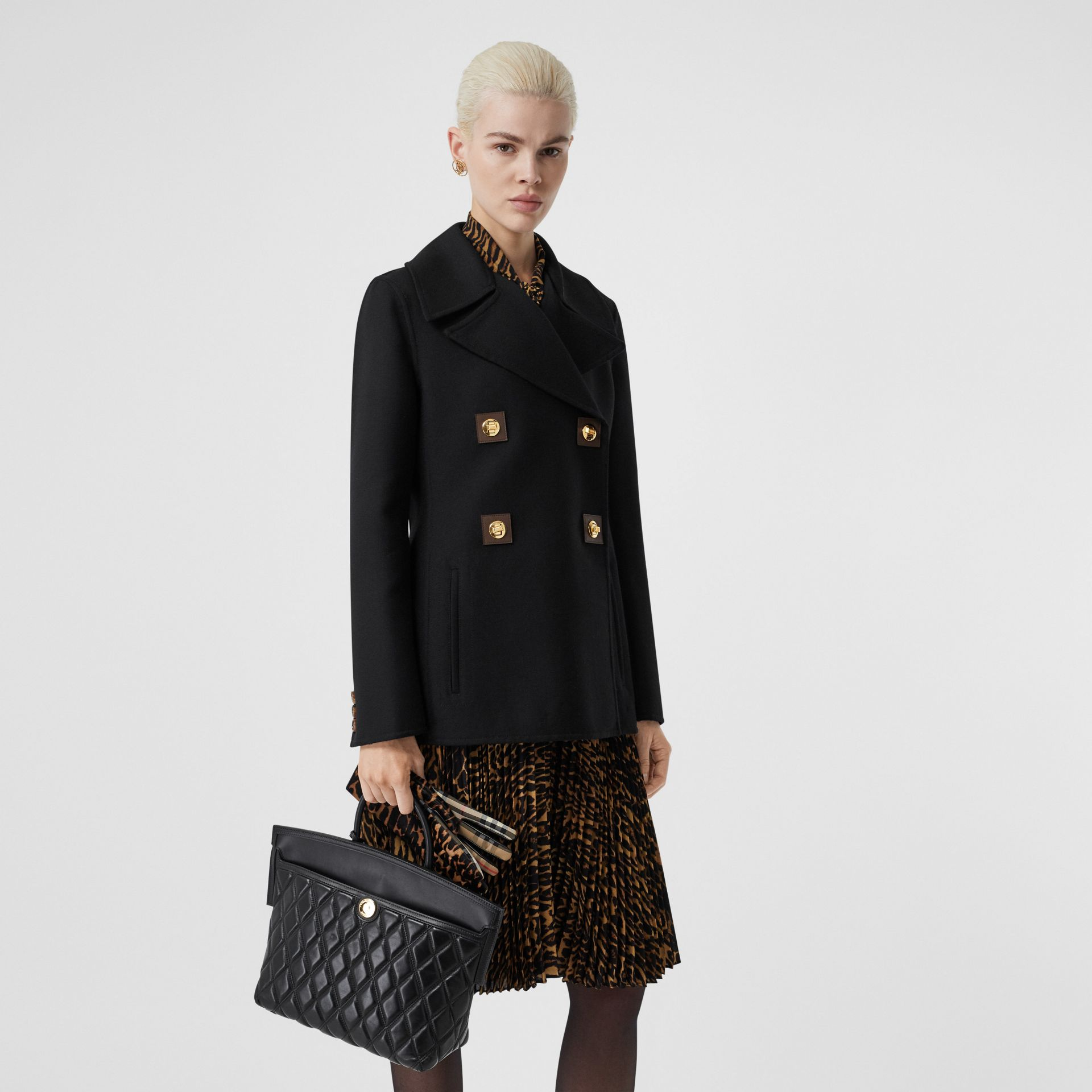 Double-faced Wool Pea Coat in Black - Women | Burberry United Kingdom - gallery image 5
